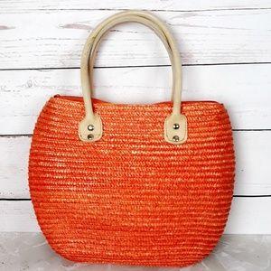 Handbags - Straw Orange Tote